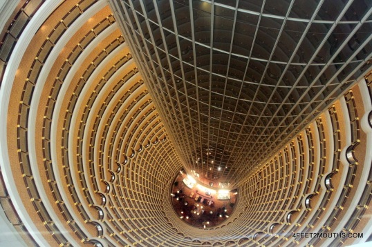 Looking down the core of the Shanghai Jin Mao Tower