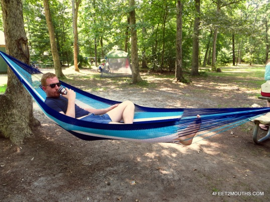 Andrew after he successfully hung the hammock