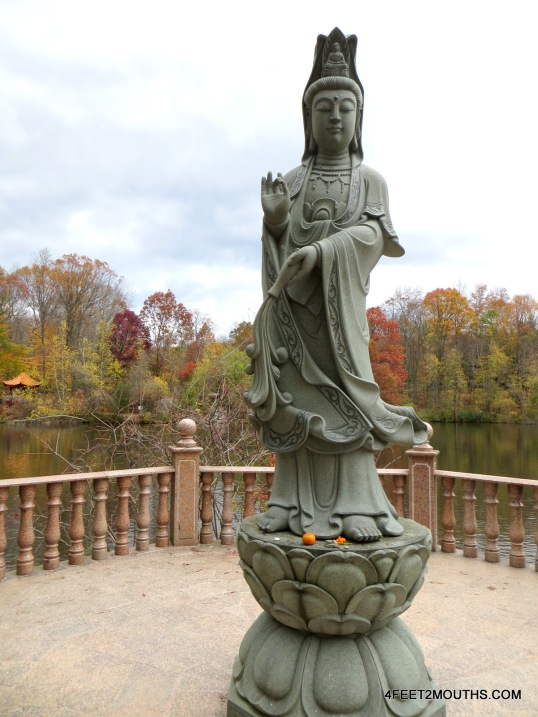 Lake with goddess statue