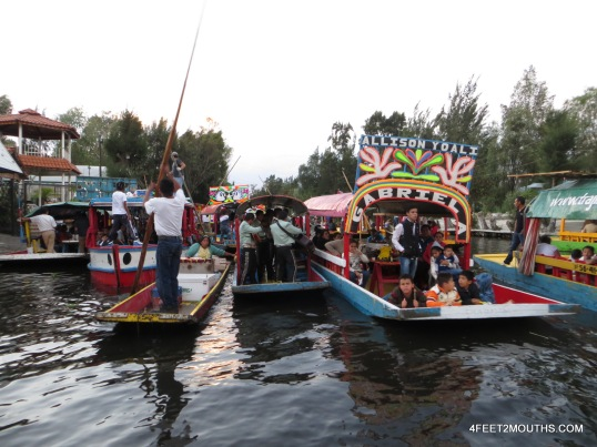 Busy boats in the canals of Xochimilco