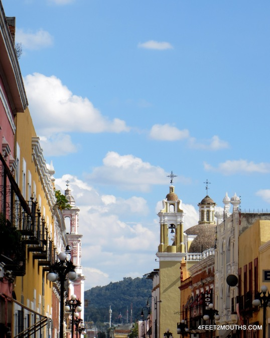 View down the street in Puebla