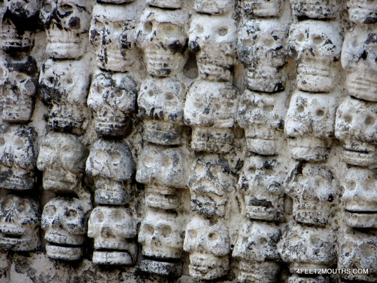 Aztec skull wall from an excavation in Mexico City